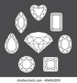 Vector diamonds of various shapes made of editable strokes