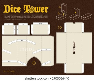 Vector Dice tower paper model template for RPG board game Dungeons and Dragons. Cut out. Cardboard production.