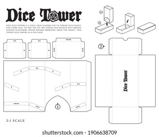 Vector Dice tower paper model template for RPG board game Dungeons and Dragons. Cut out. Cardboard production. Black and white version for printing.