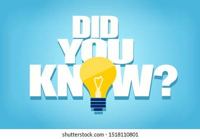 Vector of a did you know question with light bulb icon on blue background