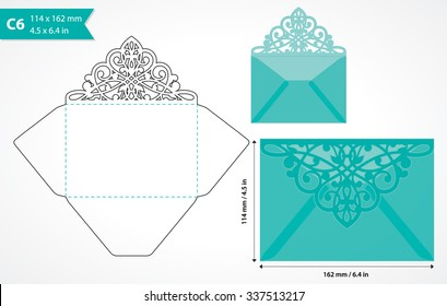 Vector die cut envelope template. C6 size. May be user for laser cutting. Folded wedding invitation envelope. Cutout envelope for holiday card. Envelope layout.