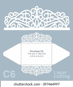 Vector die cut envelope template for laser cutting. Invitation envelope C6. Wedding invitation mockup. Lazer cut vector.