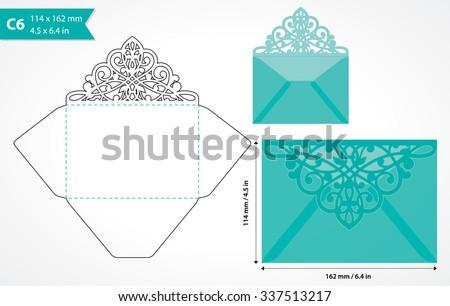 Vector Die Cut Envelope Template C 6 Stock Vector Royalty Free