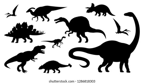 Vector different black dinosaur silhouettes set isolated on white background