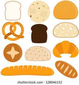 Vector of different Bread - pita, wholewheat, pretzel, Finnish bread, crescent, baguette, croissant, French bread. A set of cute and colorful icon collection isolated on white background