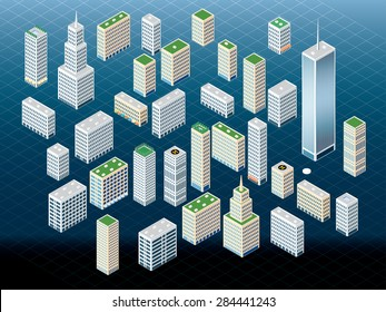 vector different buildings in isometric projection