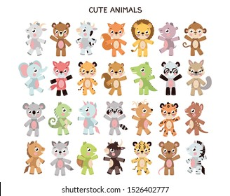 Vector different cute animal sticker template. Illustration set with different animals