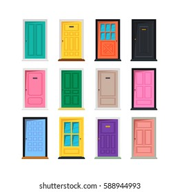 Vector different doors set isolated on white background