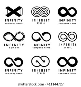 Vector different infinity logos set. Infinite cycle emblem, infinity  badge, infinity figure eight illustration