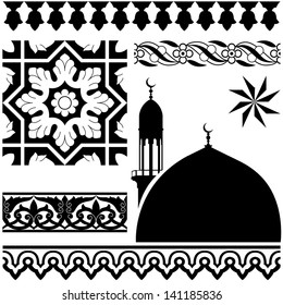 Vector of different Islamic pattern on white background