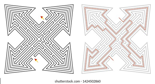Vector of different (maze) labyrinth with solution. Labyrinth design with entry and exit arrows.