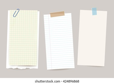 Vector different note papers with paper clip and adhesive tape.