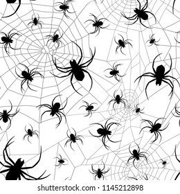 Vector different size black spider silhouette and cobweb pattern with white background
