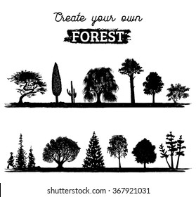 Vector different trees silhouettes. Create your own forest. Black woods icons set. Grove constructor.