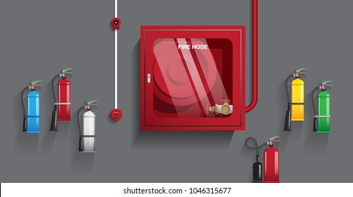 VECTOR - different types of extinguishers with fire hose cabinet and fire alarm bell, object with blend shadow on dark background.