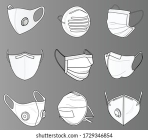 Vector with different types of masks used by people against COVID-19, Coronavirus. Safety breathing masks. Industrial safety N95 mask, dust protection respirator and breathing medical respiratory mask