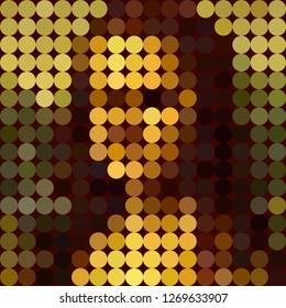 Vector digital abstract colorful mosaic portrait of woman. Renaissance portrait flat style famous Leonardo da Vinci, vector portrait Mona Lisa Style graphic design