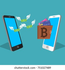 vector digital bitcoin mobile wallet vector concept. Smart phone screen with wallet bitoins and banknotes. Cryptocurresncy transaction concept