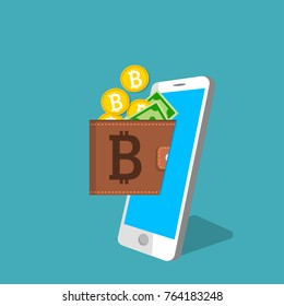 vector digital bitcoin mobile wallet vector concept. Smart phone screen with wallet bitcoins and banknotes. Cryptocurrency transaction concept