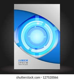 Vector digital blue brochure cover design round abstract elements. EPS 10