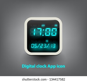 Vector digital clock button / icon for websites (UI) or applications (app) for smartphones or tablets