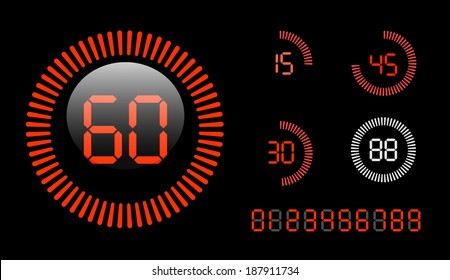 Vector Digital Countdown Timer isolated on black background