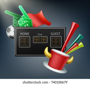 Vector digital display and attributes of the fans with foam hands, ball, flag, trumpet and hat with horns.