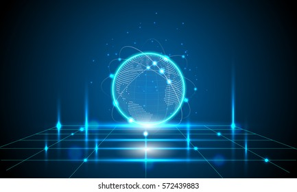 vector digital global technology concept, abstract background, illustration