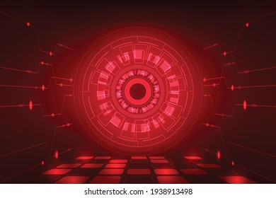 Vector digital hight technology adstract red light background.