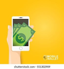vector digital mobile wallet vector concept icon. smartphone screen with stack of dollar. Internet banking concept. wireless money transfer.