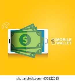vector digital mobile wallet vector concept icon. smartphone screen with money on screen. Internet banking concept. wireless money transfer.