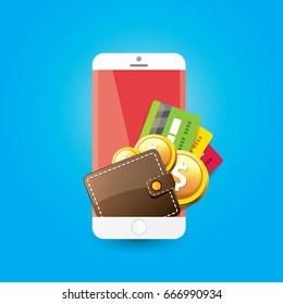 vector digital mobile wallet vector concept icon. smartphone screen with wallet, money and credit card on screen. Internet banking concept. wireless money transfer