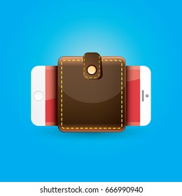 vector digital mobile wallet vector concept icon. smartphone screen with wallet on screen. Internet banking concept. wireless money transfer
