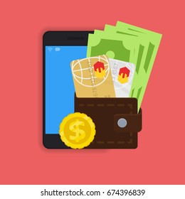 vector digital mobile wallet vector concept icon. smartphone screen with wallet and credit cards on screen. Internet banking concept. wireless money transfer.