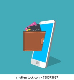 vector digital mobile wallet vector concept .Smart phone screen with wallet and credit cards. Internet banking or wireless money transfer concept