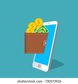 vector digital mobile wallet vector concept. Smartphone screen with wallet golden coins and banknotes. Internet banking or wireless money transfer concept