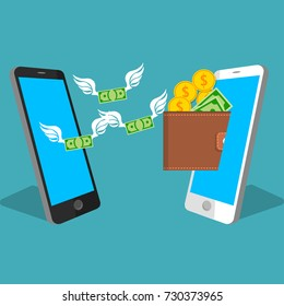 vector digital mobile wallet vector concept. Smart phone screen with wallet , coins and banknotes. Internet banking or wireless money transfer concept. Money flying from one phone to another