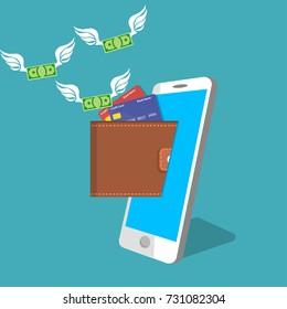 vector digital mobile wallet vector concept. smart phone screen with wallet and credit cards. Internet banking or wireless money transfer concept