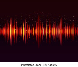 Vector digital music equalizer, audio waves design template and sound signal visualization on dark background. Vector illustration.
