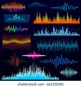 Vector digital music equalizer audio waves design template audio signal visualization illustration.