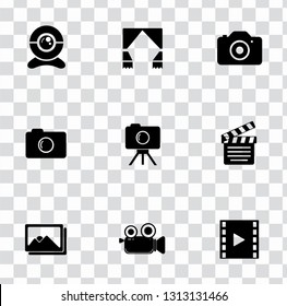 vector digital photography sign symbols. digital equipment icons set - video film interface