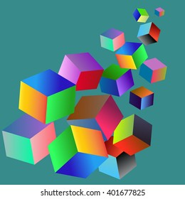 Vector digital rgb colors service logo. Web colors concept. Cubes arrow illustration.