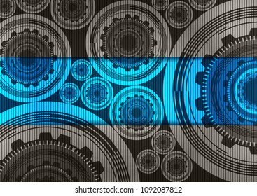 Vector Digital Technology Gears wheel and Cock Background,modern style concept,free space for text input.