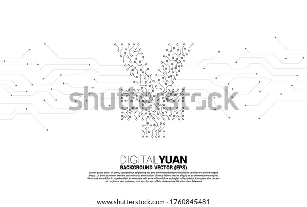 Vector digital yuan currency money icon from circuit board style dot connect line. Concept for china digital currency economy and financial network connection.