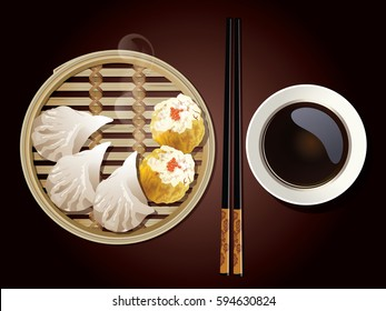 Vector of Dim Sum in Bamboo Steamer with chopsticks and sauce on brown background.