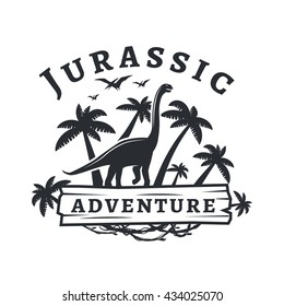 Vector dinosaur logo concept. Sauropod adventure park insignia design. Jurassic period illustration. Dino Vintage T-shirt badge on white background