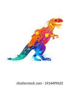 Vector dinosaur Tyrannosaur rex of watercolor splash paint