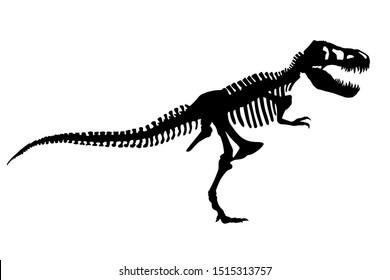 Vector Dinosaur Tyrannosaurus Rex Skeleton Silhouette Illustration Isolated
