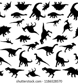 Vector dinosaurs silhouette black and white seamless pattern
