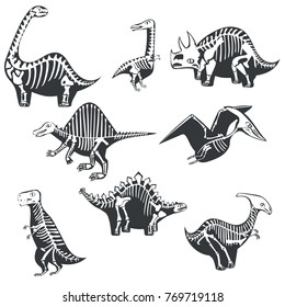 Vector dinosaurs silhouettes with skeleton isolated on white background